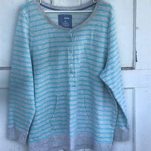 Sonoma stripped Henley sweatshirt